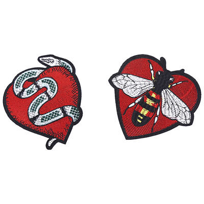 Bee Snake Heart Embroidery Applique Sticker Iron on Patch Cloth Badge Dress DIY