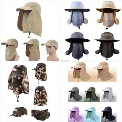 AU Unisex Outdoor UV Protection 360° Face Neck Flap Sun Cap Hiking Fishing Hat