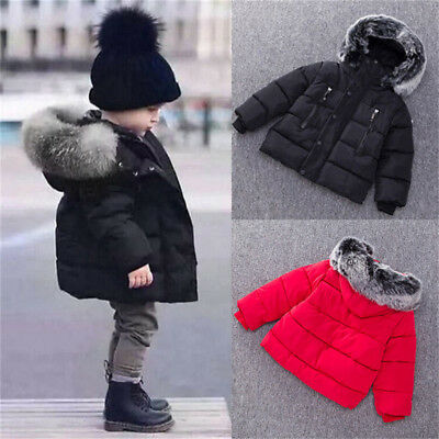 Toddler Baby Winter Warm Cotton Jacket Solid Coat Kids Boy Girl Outerwear 0-24M
