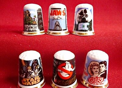 Set of 6 Hollywood Classics E T.Jaws,Grease,Star Wars, (Gold Gilded) Thimbles