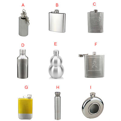 Stainless Steel Pocket Hip Flask Alcohol Whiskey Liquor Wine Pot Flagon Camping