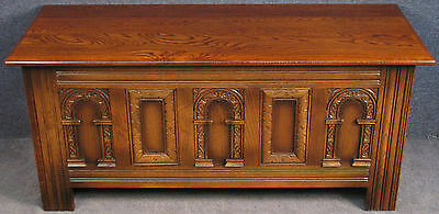 Old Charm Carved Oak Coffer / Blanket Box
