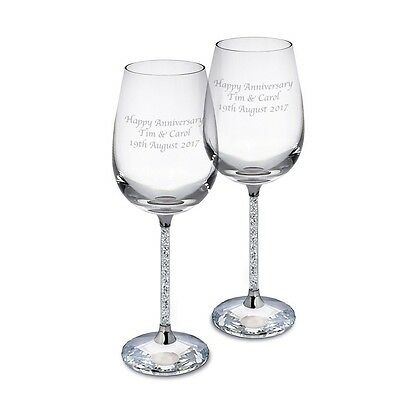Personalised Pair of Diamante Filled Wine Glasses