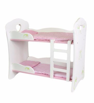 Dolls White Wooden Bunk Bed Cot Beds Doll Furniture Pretend Play
