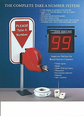 2-digit Complete Take A  Number system,2 Wireles Controlers,Sign,Red Dispenser,