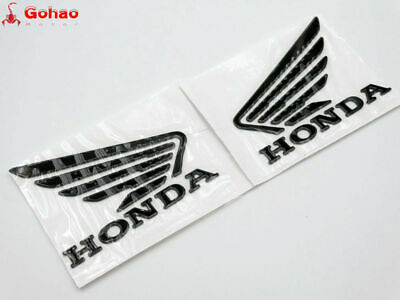 Motorcycles 3D Raise Oil Tank Emblems Decals for Honda Wing Black 90mm x 70mm