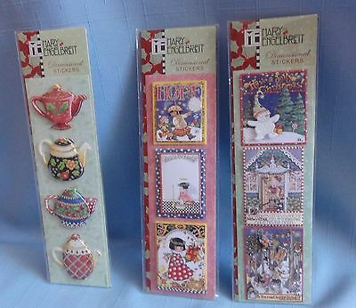Mary Engelbreit 3D DIMENSIONAL CHRISTMAS STICKERS 3 Packages Punch Studios