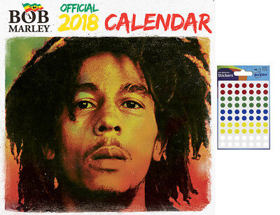 Bob Marley Official 2018 Wall Calendar - Includes 70 Coloured Dot Stickers