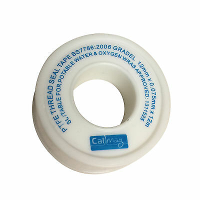 White PTFE Tape Seal Fitting Sealing Pipe Threads Connect Plumbing 12mm x 12mtr