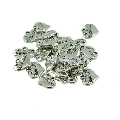 30pcs Tibet Silver Love Charm Heart Grandmother Pendants Jewelry Finding DIY
