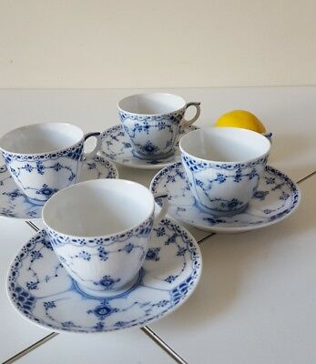 Royal Copenhagen Half Lace Blue Fluted Medium Cup and Saucer No. 626