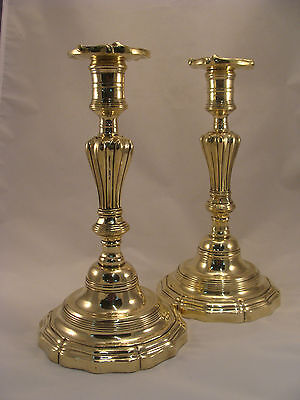 Unique Pair Antique French Brass Bronze Louis XV Candlesticks 18th.C.