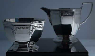 British Sterling Cream and Sugar Set, Mappin and Webb