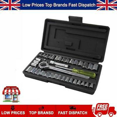 """40pc Socket Set With Case 1/4"""" 3/8"""" Forged Carbon Steel Socket Handle Tools"""