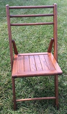 VINTAGE WOODEN SOLID OAK SLATTED BACK & SEAT FOLDING CHAIR School Church Deck