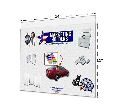 """14""""W x 11""""H  Horizontal Wall Mount Ad Frame/Sign Holder with Suction Cups Qty 6"""