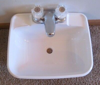 White Dura Faucet Universal RV Bathroom Sink Pop-Up with No Overflow