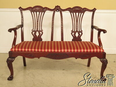23304E: High Quality Custom Crafted Finely Carved Chippendale Bench