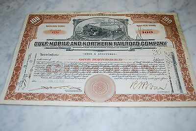 Stock Certificate - GULF, MOBILE AND NORTHERN RAILROAD COMPANY – 1930