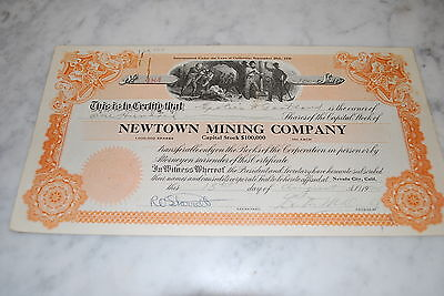 Stock Certificate - NEWTOWN MINING COMPANY – CALIFORNIA 1924