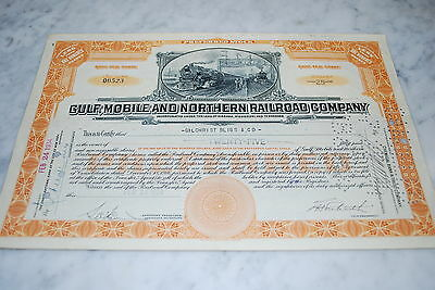 Stock Certificate - GULF, MOBILE AND NORTHERN RAILROAD COMPANY – 1934