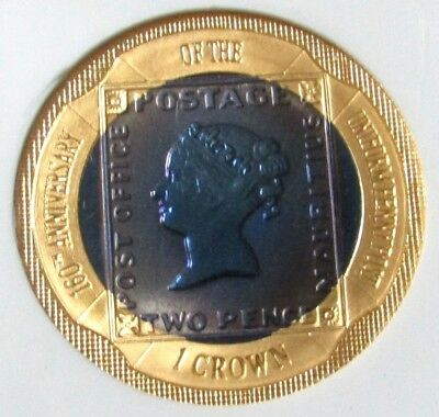 "2000 Gold Bi-Metal Gibraltar 1 Crown Ngc Proof 69 Blue ""two Pence Blue Stamp"""