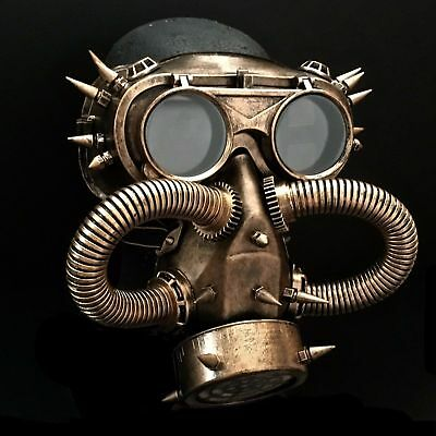 Halloween Steampunk Rivet Vintage Goggles Burning Man Gas Cosplay Dress Up Masks