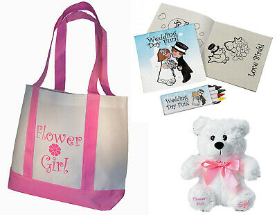 Flower Girl Gifts Set Tote Bag Flowergirl Teddy Bear Wedding Day Activity kits