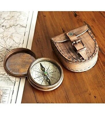 Antiqued Poem Compass Leather Case Brass Home Gift Vintage Frost Top Quality