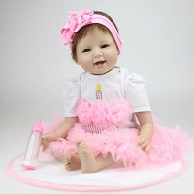 Pink Lace Dress Handmade Suitable For 22 inches Reborn Baby Not included Doll