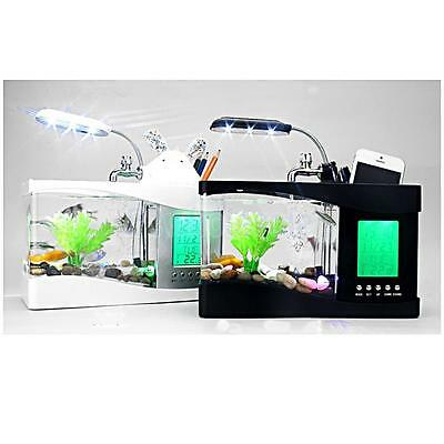 Aquarium Mini Desktop LED Fishing Fish Tank Aquarium With LED lamp Light 2 Color