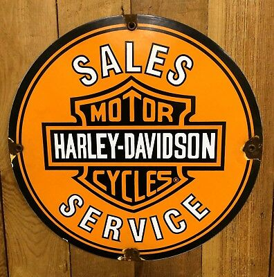 HARLEY DAVIDSON MOTORCYCLES SALES porcelain sign vintage DEALER motor oil