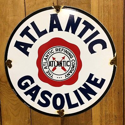 Vintage Atlantic Gasoline Porcelain Sign Gas Pump Lubster Gulf Can Oil Shell Can