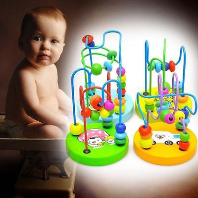 Colorful Wooden Around Beads For Baby Infant Children Kids Educational Game Toys