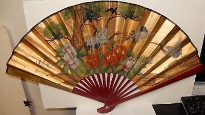 Chinese Crane Birds Blossom Gold Gilt Watercolor Fan Painting Signed