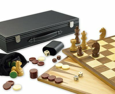3 in 1 Games Set for Chess, Backgammon and Draughts.