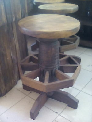 Retro Bar Stool Handmade Hand carved Wooden