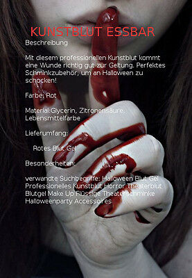 Kunstblut Professionelles Essbares  Halloween Make-up  Lecker Erdbeer Blutgel