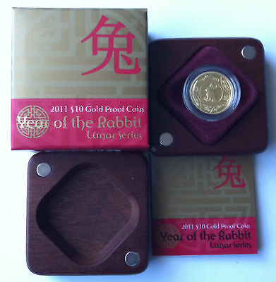 2011 Ram $10 Year Of The Rabbit Lunar Series 1/10 Oz Gold Proof Coin