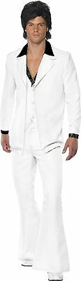 Smiffy's Adult men's 1970's Suit Costume, Jacket With Mock Shirt and Waistcoat a