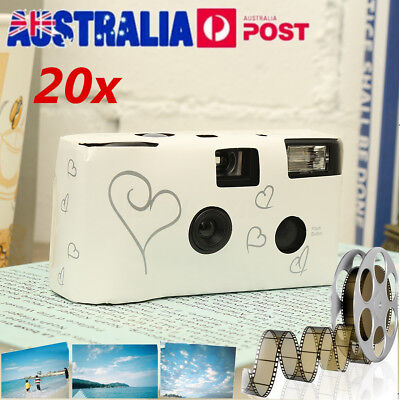 20 x Disposable 36exp Wedding Camera with Flash-White And Silver Hearts Design