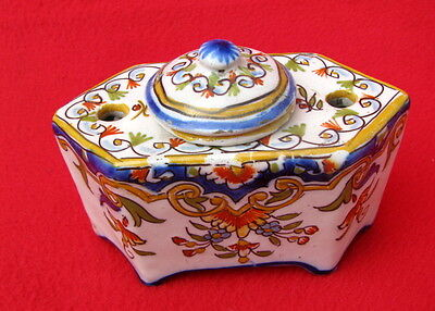 FAIENCE  FORT-MAHON DESVRES ENCRIER ANCIEN / inkpot