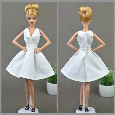 Fashion White Skirt Evening Dress Outfit Gown Clothes For 11.5in.Doll