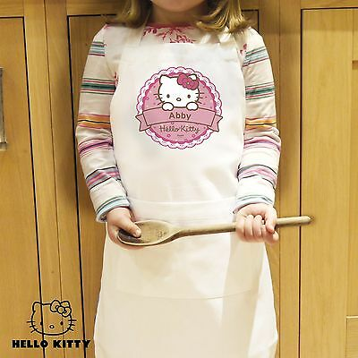 PERSONALISED Childrens Cooking Baking APRON - Hello Kitty. Kids Girls Pink Pinny