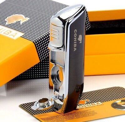 Black Cohiba Triple Jet Lighter In Gift Box- Men's Cigar Lighter