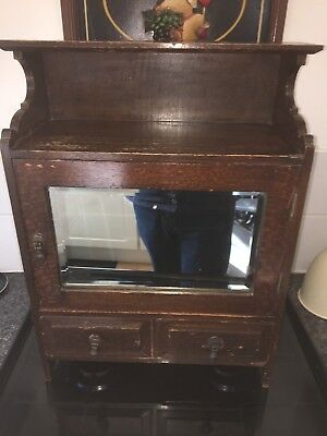 Antique Wooden Mirrored,two Drawer Cabinet