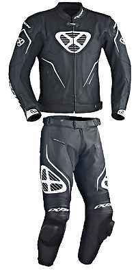 Ixon Orcus Men's Motorcycle Leather Two Piece Suit Black White SALE