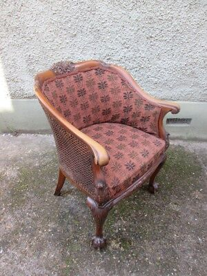 Stunning Late 19th Century Victorian Caned Ball And Claw Tub Armchair.