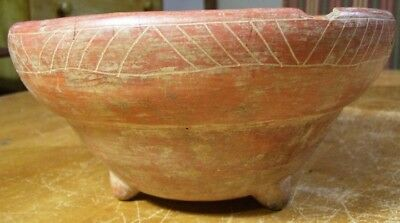 Precolumbian Costa Rica Pottery Footed Bowl Cracked & Chipped (8 inces diameter,