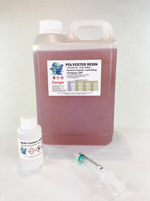 1kg Fibreglass GRP  Polyester Resin, Hardener & Syringe kit - LLoyds Approved